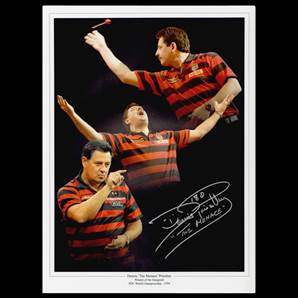 Dennis 'The Menace' Priestley Personally Signed Darts Photo