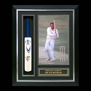 Sir Ian Botham Personally Signed Mini Cricket Bat - England, Framed