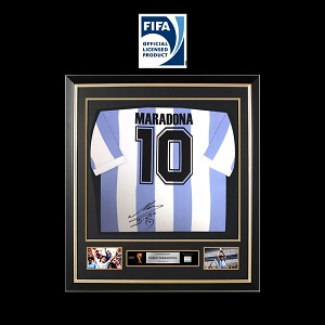 Official FIFA World Cup Diego Maradona Back Signed and Framed Argentina Jersey