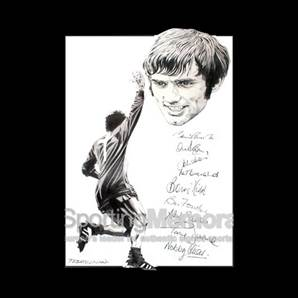 A Tribute to the Best - Drawing signed by nine of United's 1968 European champions