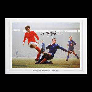 Ron Harris Autographed Chelsea Picture - George Best Tackle