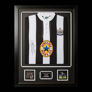 Alan Shearer Personally Signed Newcastle Shirt - Framed with Silver Inlay