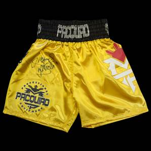 Manny Pacquiao Signed Boxing Shorts - Gold