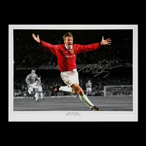 Teddy Sheringham Personally Signed Champions League Final photo