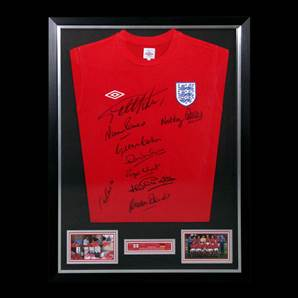 England framed shirt signed by 9 of the 1966 England Team