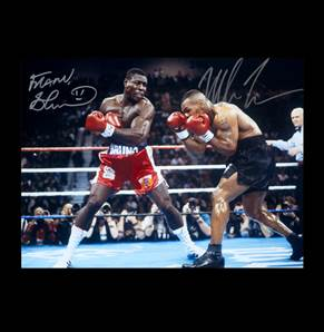 Mike Tyson & Frank Bruno Dual Signed Photo - WBC Heavyweight Title In Las Vegas 1996