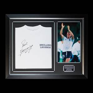 Paul Gascoigne Personally Signed & Framed Shirt - England Legends
