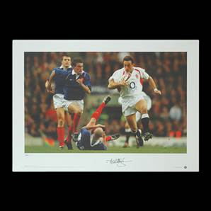 Dan Luger signed England print - Wing Wizard
