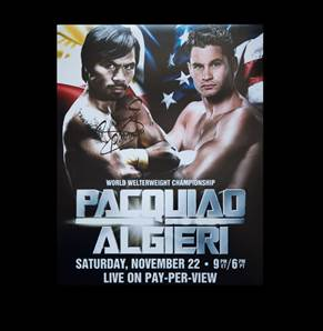 Manny Pacquiao Personally Signed Photo - Fightnight Poster V Algieri
