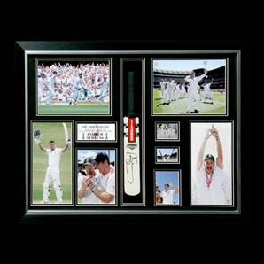 Andrew Strauss autographed, framed, mini cricket bat