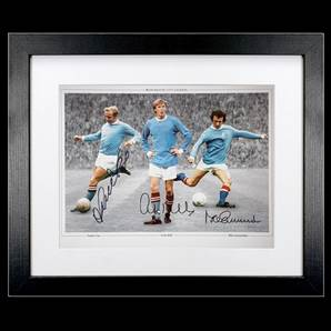 Manchester City Montage Photo Signed By City legends Bell, Summerbee & Lee, framed