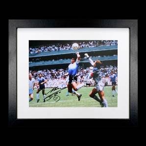 Diego Maradona Personally Signed Photo - Hand Of God, framed