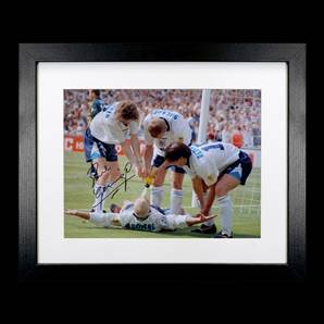 Paul Gascoigne Personally Signed & Framed England Photo - Dentist Chair Celebration